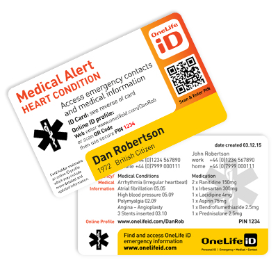 New Medical Alert Card And Emergency Id Card Onelife Id