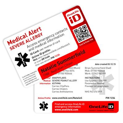 OneLife ID Allergy Alert Card