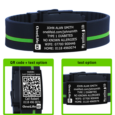 Multi Function Sports Id Wristband Released In Partnership With Uk Cycling Events Two Colour 19mm Wide Silicon Strap Contrast Stripe And Durable Black